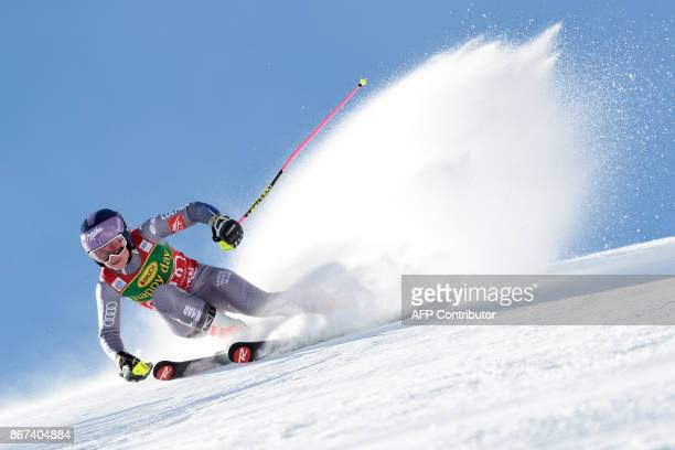 TOPSHOT Tessa Worley of France competes during the women's Giant Slalom event of the FIS ski World cup in Soelden Austria on October 28 2017 / AFP...