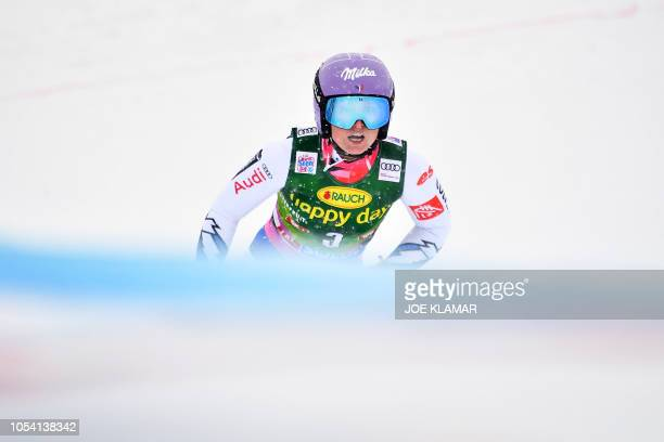Tessa Worley of France crosses the finnish line after competing in the second run of the Women's giant slalom at the FIS ski World cup on October 27...