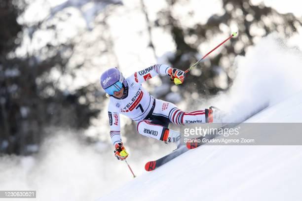 Tessa Worley of France in action during the Audi FIS Alpine Ski World Cup Women's Giant Slalom in January 17, 2021 in Kranjska Gora, Slovenia.