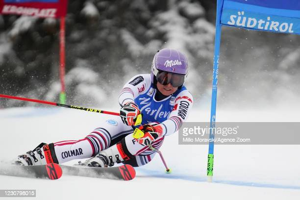 Tessa Worley of France takes 1st place during the Audi FIS Alpine Ski World Cup Men's Giant Slalom on January 26, 2021 in Kronplatz Italy.