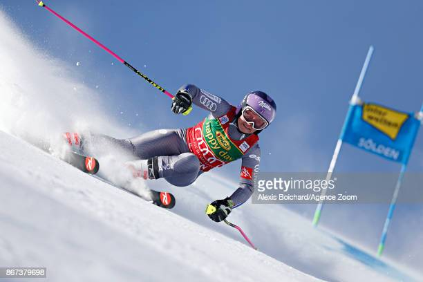 Tessa Worley of France takes 2nd place during the Audi FIS Alpine Ski World Cup Women's Giant Slalom on October 28 2017 in Soelden Austria