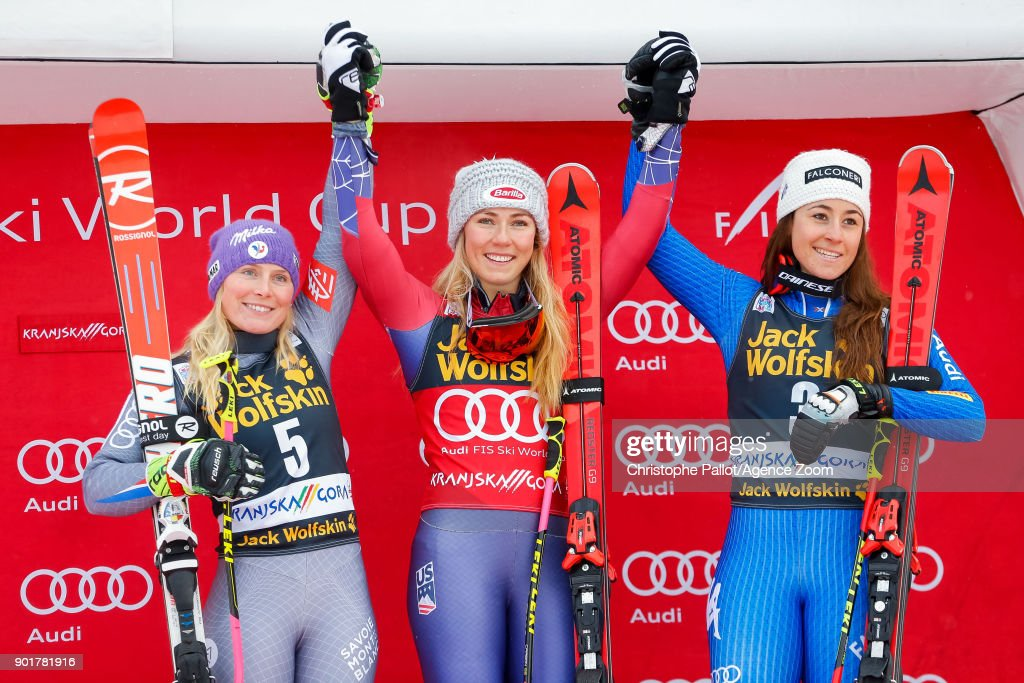 Tessa Worley of France takes 2nd place, Mikaela Shiffrin of USA takes 1st place, Sofia Goggia of Italy takes 3rd place during the Audi FIS Alpine Ski World Cup Women's Giant Slalom on January 6, 2018 in Kranjska Gora, Slovenia.
