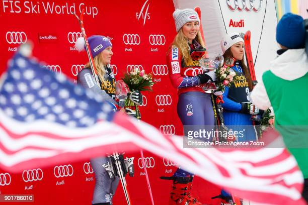 Tessa Worley of France takes 2nd place Mikaela Shiffrin of USA takes 1st place Sofia Goggia of Italy takes 3rd place during the Audi FIS Alpine Ski...