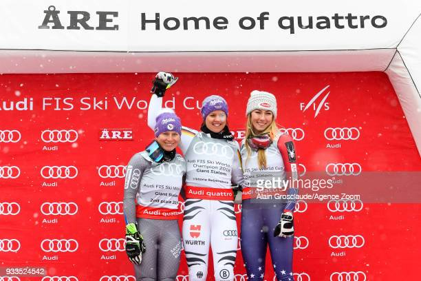 Tessa Worley of France takes 2nd place Viktoria Rebensburg of Germany wins the globe Mikaela Shiffrin of USA takes 3rd place during the Audi FIS...