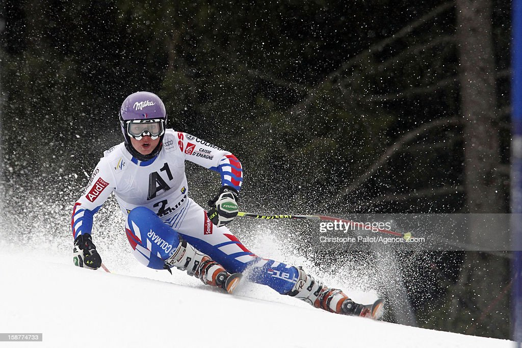Tessa Worley of France takes 3rd place during the Audi FIS Alpine Ski World Cup Women's Giant Slalom on December 28, 2012 in Semmering, Austria.