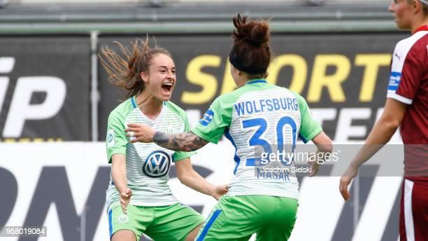 Tessa Wullaert and Ella Masar of Wolfsburg celebration the Goal 20 for Wolfsburg during the Allianz Frauen Bundesliga match between VfL Wolfsburg and...