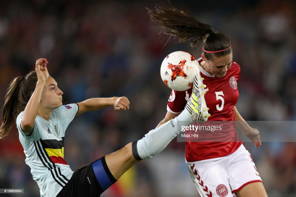 Tessa Wullaert of Belgium and Simone Boye Sorensen of Denmark compete for the ball during the Group A match between Denmark and Belgium during the UEFA Women's Euro 2017 on July 16, 2017 in Doetinchem, Netherlands.