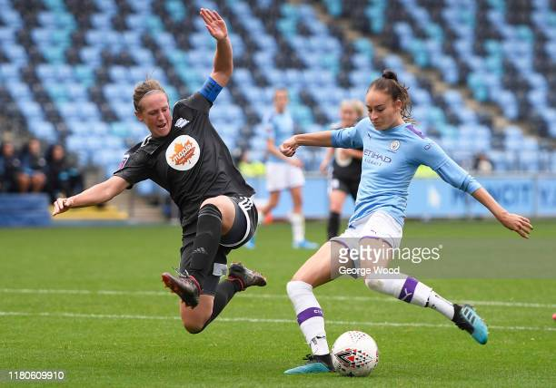 Tessa Wullaert of Manchester City shoots whilst being closed down by Kerys Harrop of Birmingham City during the Barclays FA Women's Super League...