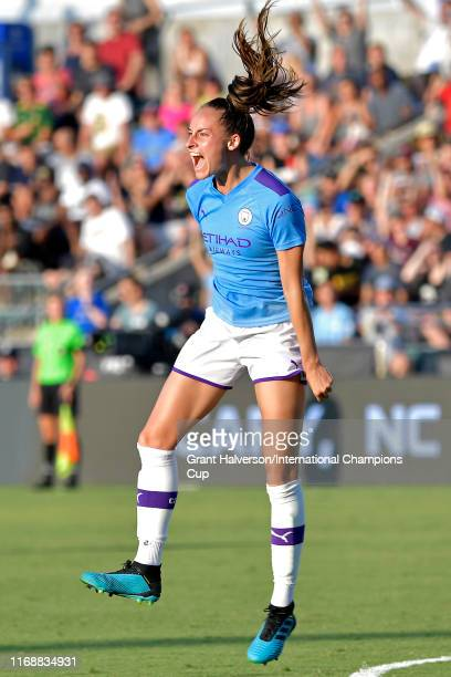 Tessa Wullaert of Manchester City Women celebrates her game winning goal in the final minutes against Atletico de Madrid during the International...