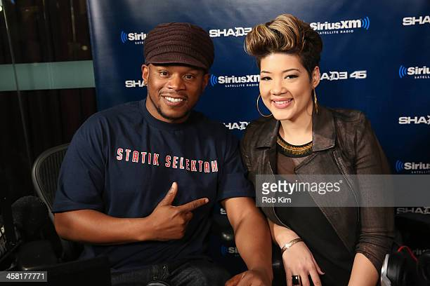 Tessane Chin visits 'Sway in the Morning' with Sway Calloway on Eminem's Shade 45 at SiriusXM Studios on December 20 2013 in New York City