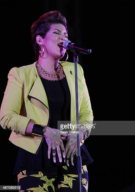 Tessanne Chin winner of US version of The Voice competition TV show performs at the Tobago Jazz Experience in Pigeon Point Tobago on April 26 2014 in...