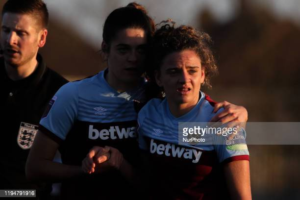 Tessel Middag of West Ham United Women and Leanne Kiernan of West Ham United Women during the Barclays FA Women's Super League match between West Ham...
