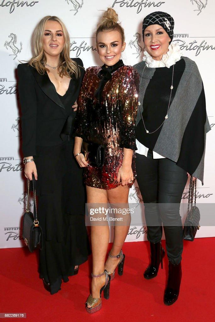 Tessie Hartmann, Tallia storm and mum Tessa Hartmann attend the UK launch of the Ferrari Portofino at Kensington Olympia on November 29, 2017 in London, England.