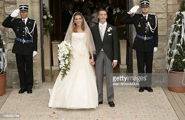 Tessy Anthony and husband Louis of Luxembourg getting out of the church in Luxembourg on September 29 2006