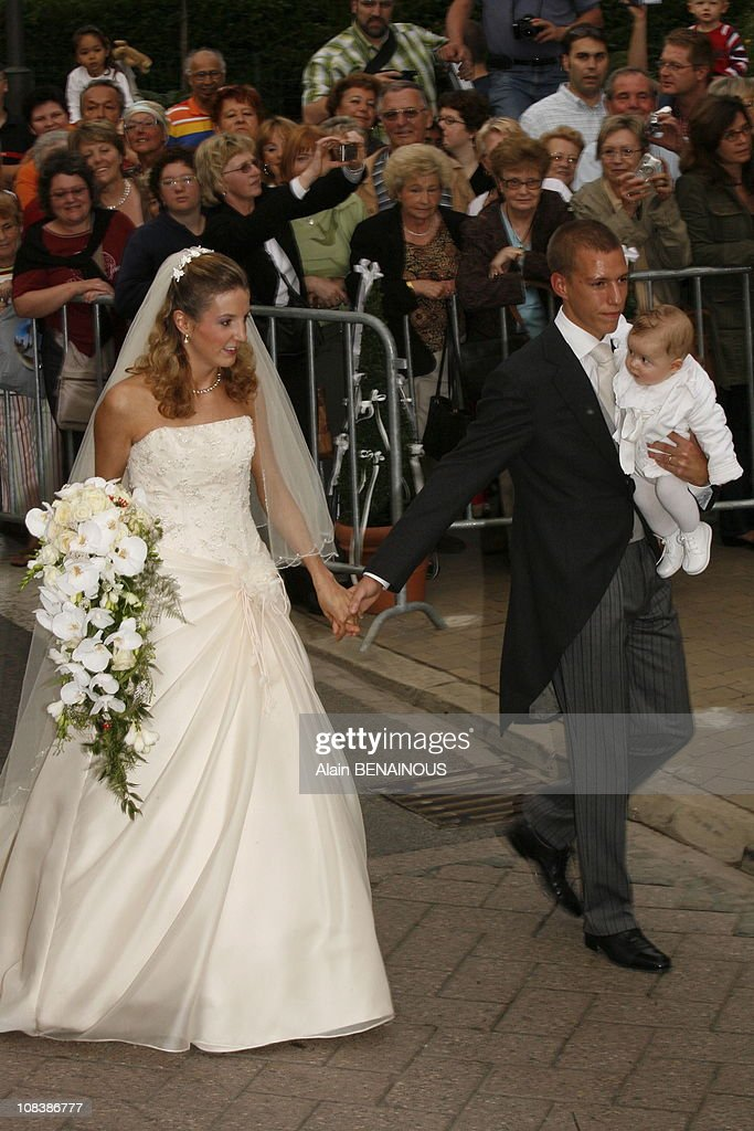 Tessy Anthony, her husband Louis of Luxembourg and their son Gabriel of Nassau in Luxembourg on September 29, 2006.