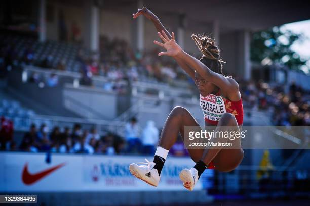 Tessy Ebosele of Spain competes in the Women's Long Jump Final during European Athletics U20 Championships Day 4 at Kadriorg Stadium on July 18, 2021...