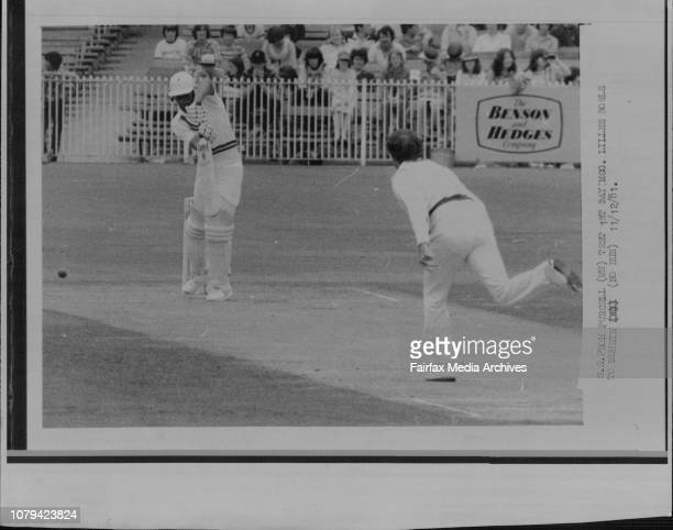 Test 1st day MCG Lillee bowls to Mohsin Pakistan's opening batsman Moshin Khan whose stand lasted nearly two hours before being court by Thomson off...