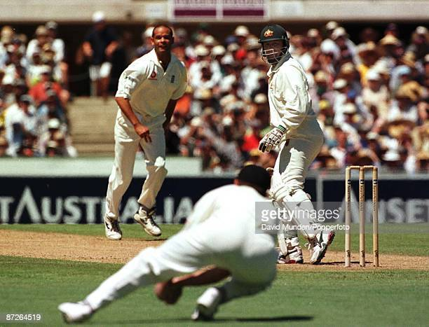 Test Australia v England at Sydney 2199 MARK TAYLOR is out caught HICK bowled Headley