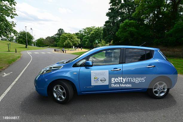 Test drive of the Nissan LEAF the first 100% electric vehicle at Crystal Palace on July 28 2012 in London England Nissan Brazil will be the official...