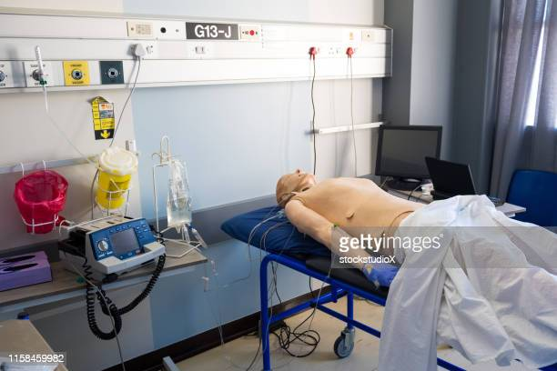 test dummy on hospital bed in ward - mannequin stock pictures, royalty-free photos & images