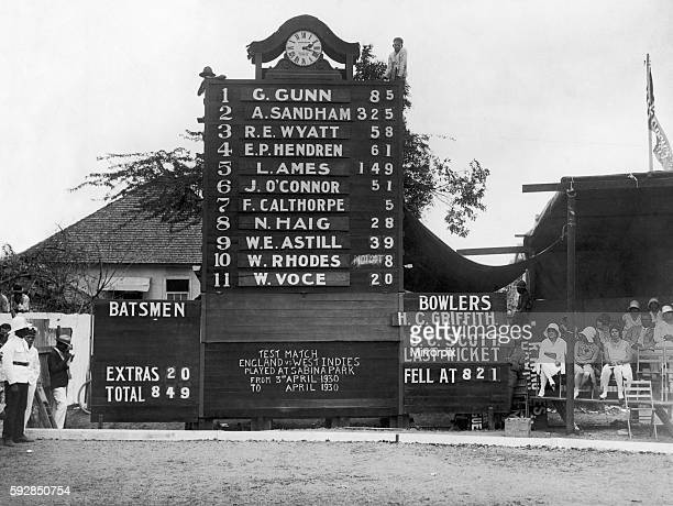 Test match between West Indies and England at Sabina Park in Kingston Jamaica The scoreboard showing the number of England runs 25th April 1930