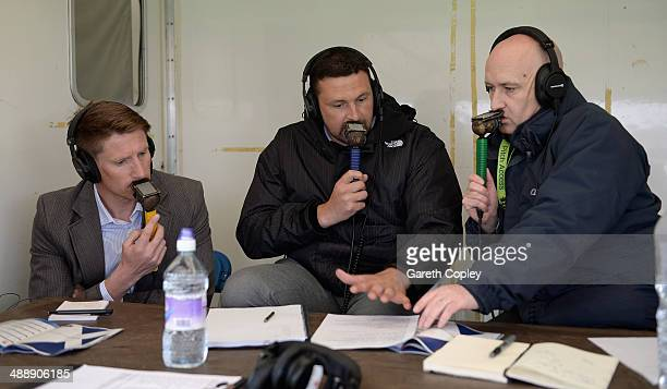 Test Match special commentary team John Blain Steve Harmison and Kevin Howells during the Royal London OneDay International match between Scotland...