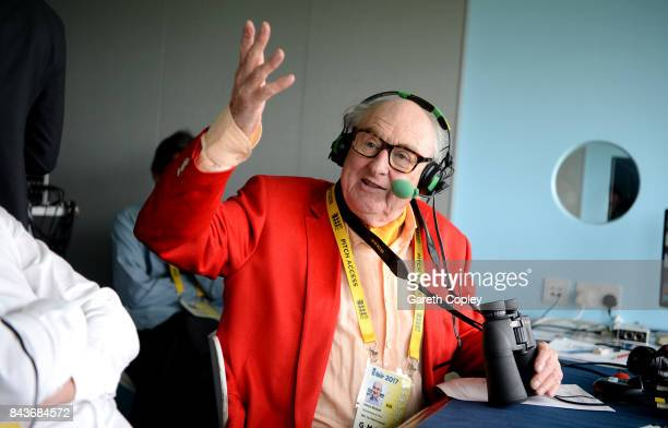 Test Match Special commentator Henry Blofeld on air during day one of the 3rd Investec Test match between England and the West Indies at Lord's...