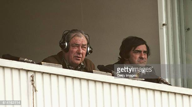 Test Match special commentator John Arlott with summariser Fred Trueman look on from the commentary box during a 1979 Cricket World Cup match at...