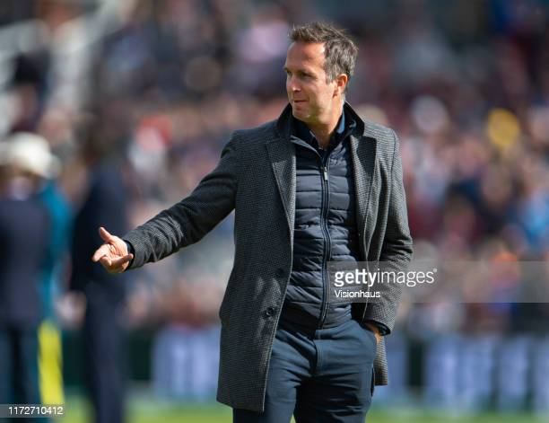 Test Match Special commentator Michael Vaughan before day two of the 4th Specsavers Ashes Test at Emirates Old Trafford on September 5, 2019 in...