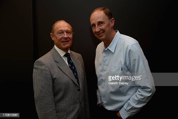 Test Match Special commentators Geoffery Boycott and Jonathan Agnew pose photograph at Eden Park on March 23 2013 in Auckland New Zealand