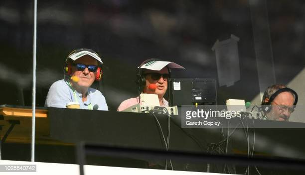 Test Match Special commentators Phil Tufnell and Jonathan Agnew struggle in the bright sunshine during day two of the Specsavers 4th Test match...