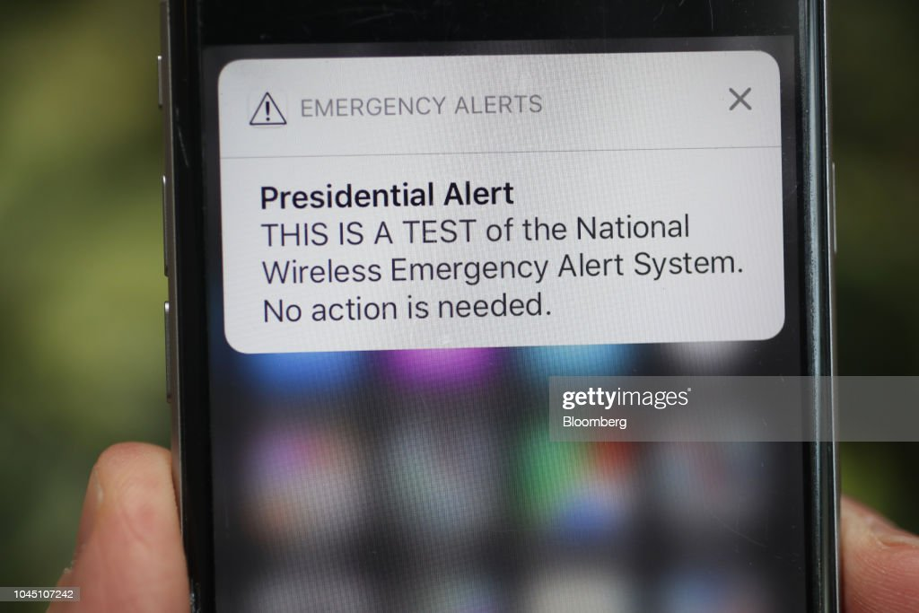 A test of the National Wireless Emergency Alert System is