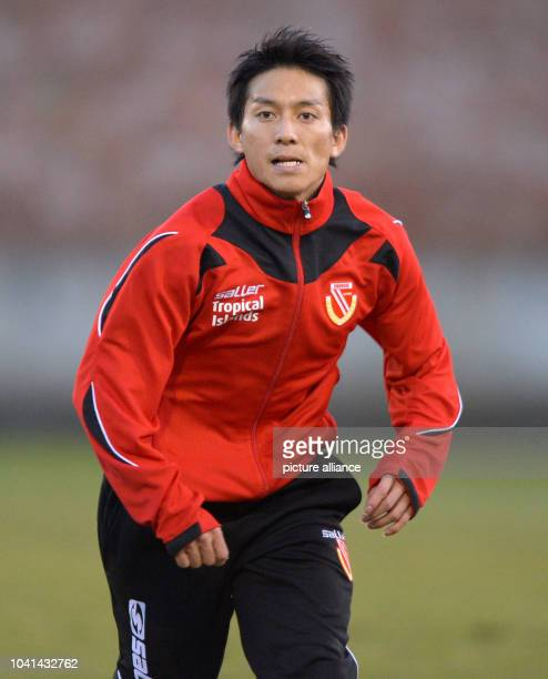 Test player of FC Energie Cottbus Atomu Tanaka attends a training session of the second devision Bundesliga soccer club at the Stadion der...