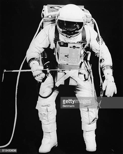Test subject Fred Spress Crew Systems Division wears the space suit and extravehicular equipment planned for use by David R Scott Scott will use the...