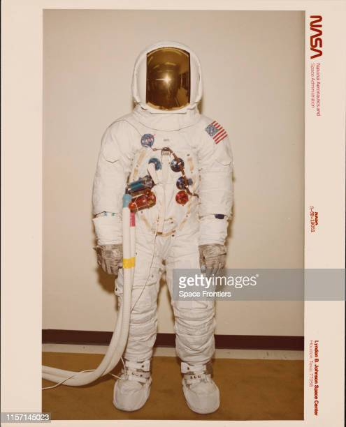 A test subject models the Apollo Integrated Thermal Micrometeoroid Garment the outer layer of the space suit for the NASA Apollo missions at the...