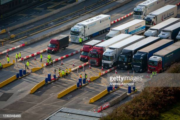 Test & trace underway as police and army personnel are stationed at the entrance to the departure lanes of the Port of Dover while Test & Trace...