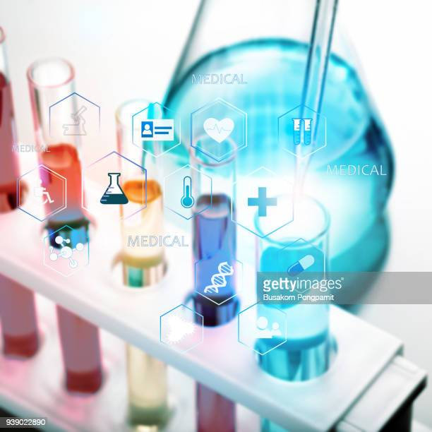 test tubes and pipette scientist working at the laboratory, medical technology - medical icons stock pictures, royalty-free photos & images