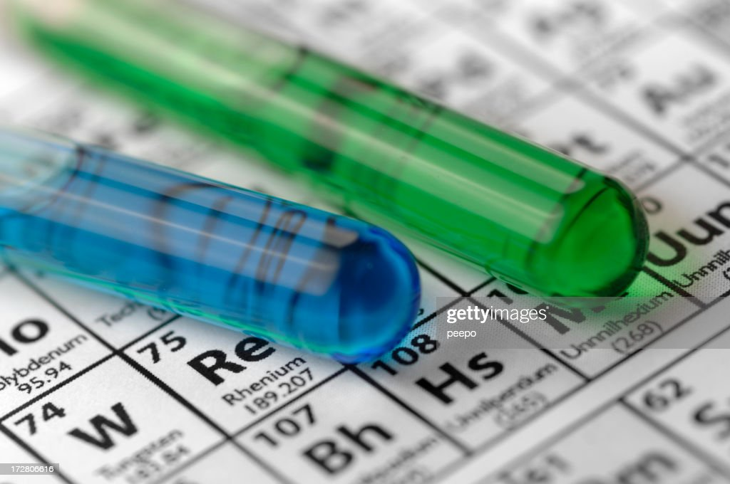 Test Tubes Lying On Periodic Table Stock Photo Getty Images