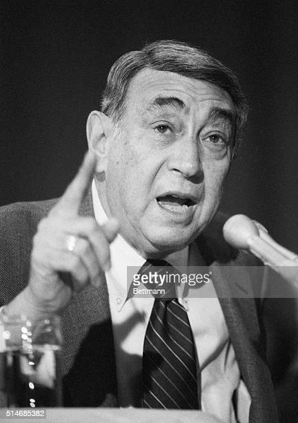 Testifying before the Senate Judiciary Committee television sports broadcaster Howard Cosell raises his finger to make a point while attacking the...