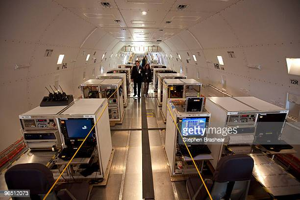 Testing equipment occupies the cargo hold of a Boeing 7478 freighter February 8 2009 at Paine Field in Everett Washington The 7478 is the largest...