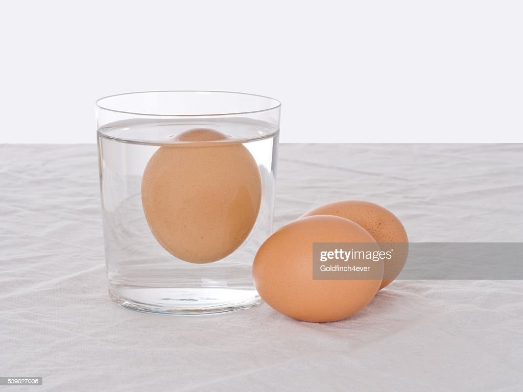 Testen frischen Eiern. Faul einem schwimmenden im Wasser. Salmonellen Risiko. : Stock-Foto