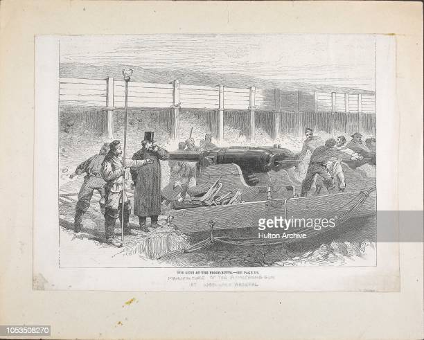 Testing guns by firing them at the proofbutts during the manufacture of an Armstrong Gun at Woolwich Arsenal London 1862