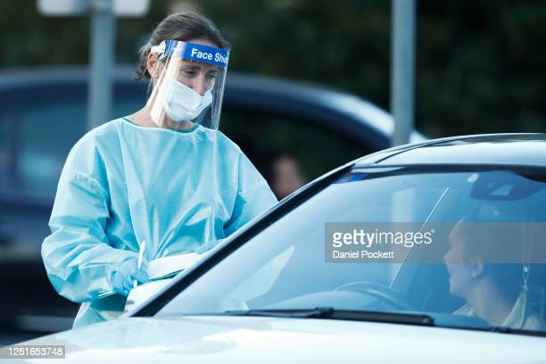 COVID19 testing staff are seen at a popup site at Keilor Community Hub on June 24 2020 in Melbourne Australia A man in his 80s died overnight in...