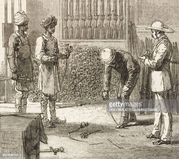 Testing swords Peshawar preparing for the spring campaign Second AngloAfghan War illustration from the magazine The Graphic volume XIX no 491 April...