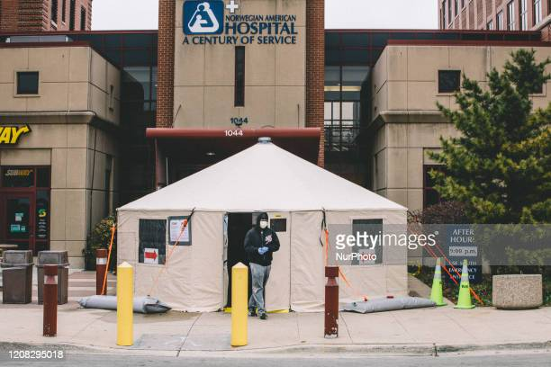 Testing tent outside of Norwegian American Hospital in Humboldt Park on Chicago's west side, in Chicago, United States, on March 26, 2020.
