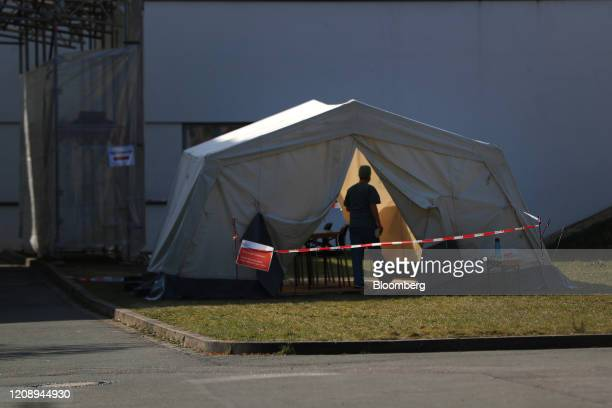 Testing tent stands outside the coronavirus outpatient clinic at the Paracelsus Clinic in Zwickau, Germany, on Thursday, April 2, 2020....