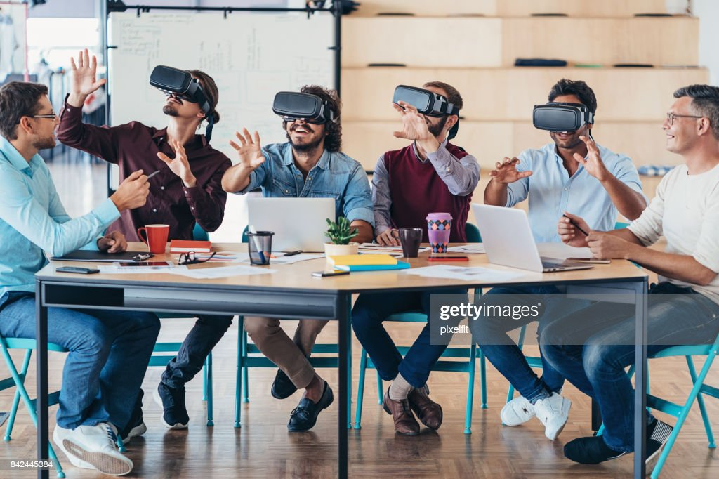 Testing the new VR headsets : Stock Photo