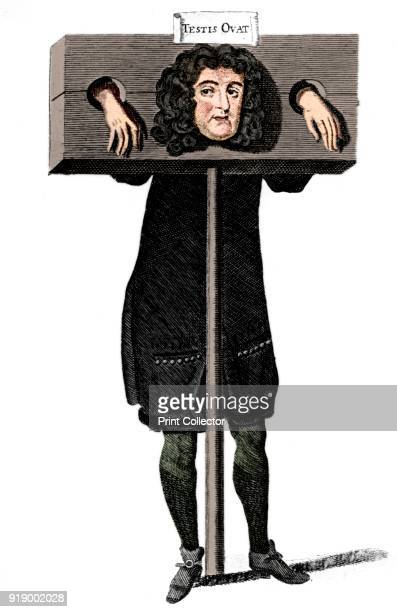 Testis Ovat', Titus Oates in the pillory, 17th century . Testis Ovat is an anagram of Oates' name. An Anglican priest, he made up the story of the...