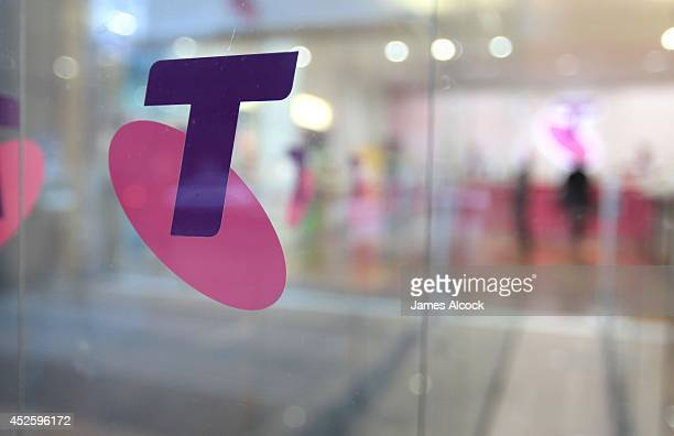Testra logo seen on a retail space in Sydney's CBD on July 24 2014 in Sydney Australia Telstra's Global Services Devision will be moving 463 existing...