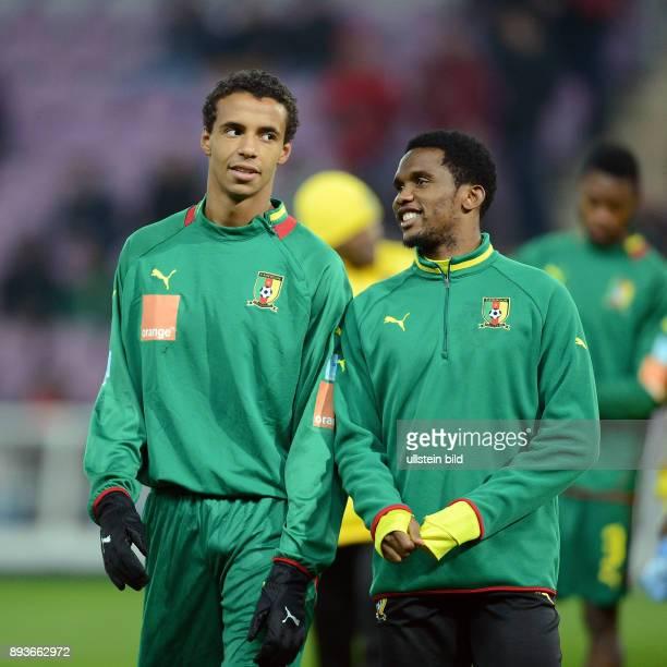 FUSSBALL INTERNATIONAL Testspiel Albanien Kamerun Samuel Eto o und Joel Matip beim Aufwaermen